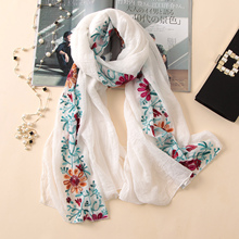 2018 embroidery women scarf vintage summer pashmina cotton shawls and wraps lady floral bandana female hijab winter scarves