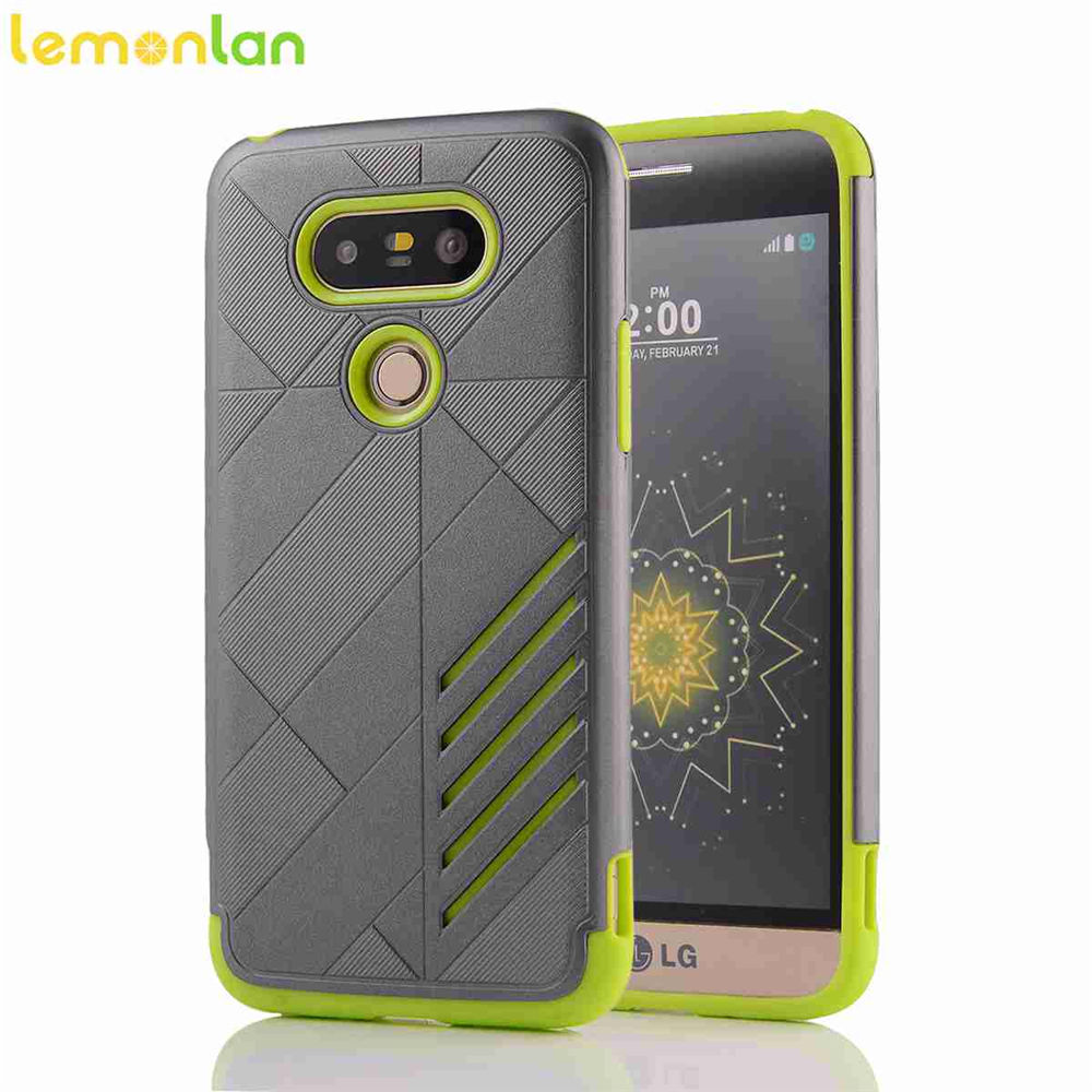 Lemonlan Luxury Armor Anti-Shock Silicone Hybrid Hard PC Back Phone Case For LG G5 H830 H860 VS987 Cover Shell Coque