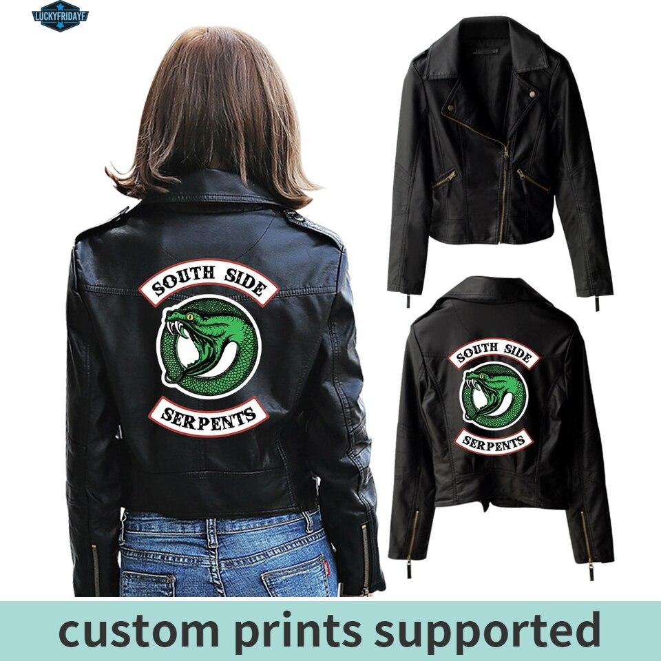 New 2019 Riverdale PU Printed Logo Southside Riverdale Serpents Jackets Women Riverdale Serpent Streetwear Leather Jacket Custom