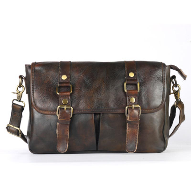 Genuine Leather Handbag Men Vintage Vegetable Leather Men's Messenger Crossbody Bags Tanned Male Handmade Briefcase Travel Bag