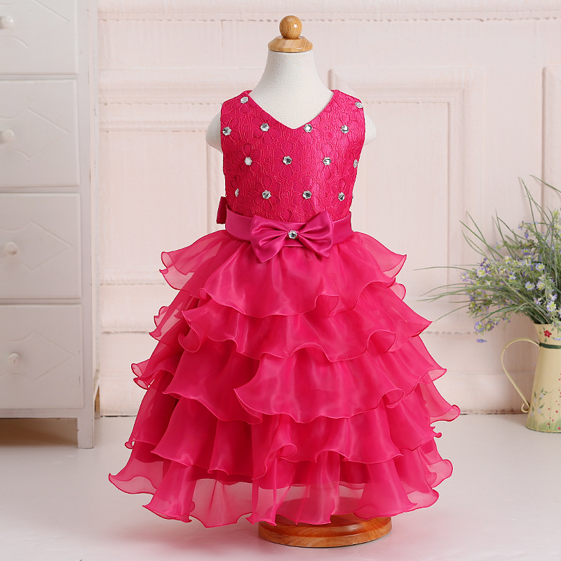 Sleeveless Flower Lace Dresses For Girls Layer Mesh Party Wedding Princess Tulle Vestido Child Kids Pageant Floral Dress 8 Years girls autumn winter princess costume wedding dress child kids clothing purple mesh lace flower
