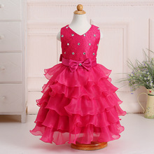 Sleeveless Flower Lace Dresses For Girls Layer Mesh Party Wedding Princess Tulle Vestido Child Kids Pageant Floral Dress 8 Years