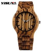 Fashion Brand YISUYA Wooden Quartz Watch Handmade Bamboo Strap Zebra Stripe Pattern Gift Analog Sport Man