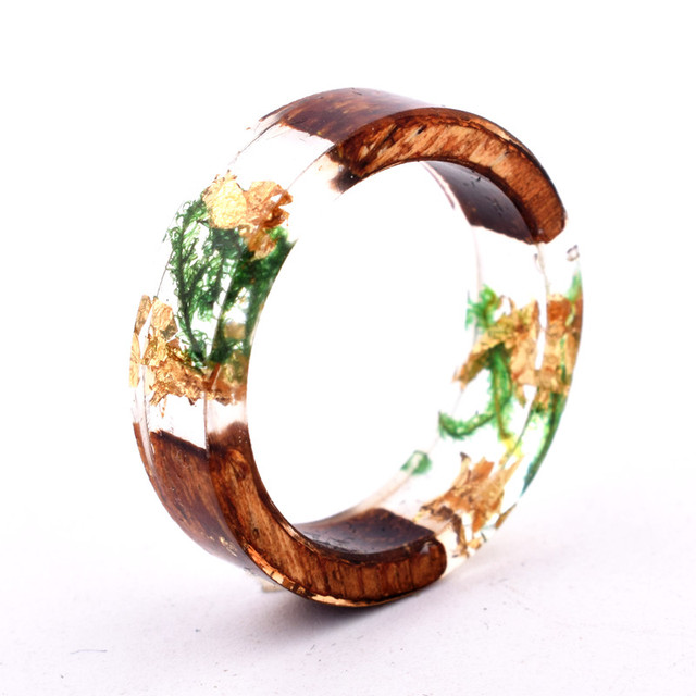 Handmade Flowers Wood Resin Ring26