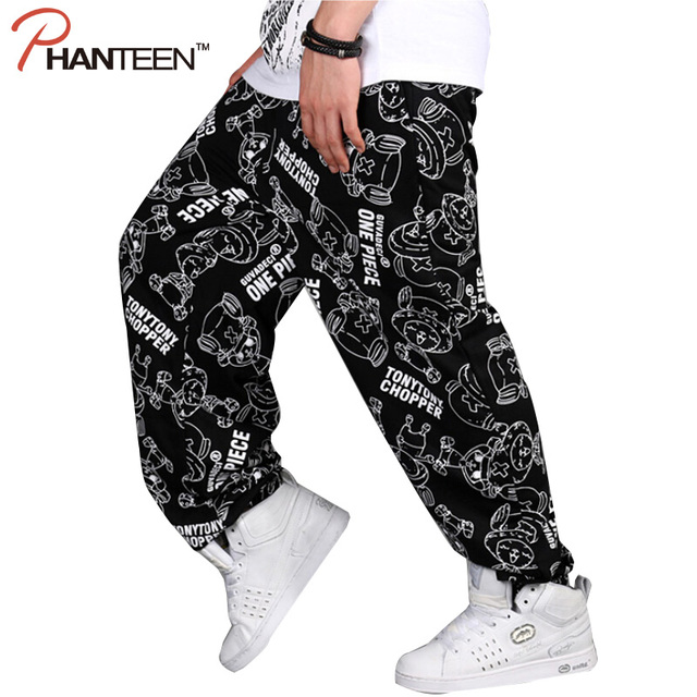 Men Hiphop Loose Pants Street Dancing Skateboard Harem Pants Cartoon Letter Print Graffiti Cross-pants Fashion Man Trousers