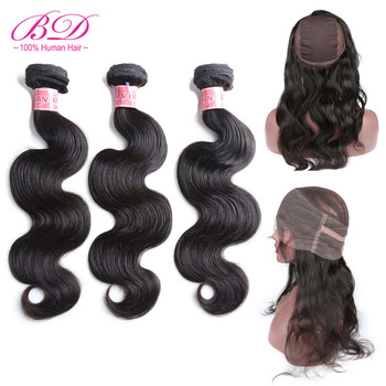BD HAIR 360 Lace Frontal Closure with Bundles Peruvian Body Wave Human Hair Remy Frontal With Wigs Cap Natural Color image