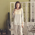 Moda otoño Mujeres ropa de Dormir Pijamas de Algodón Conjunto Dormir de Manga Larga Salón Real Cordón de la Princesa Dulce de La Colmena Femenina Suave Pijama