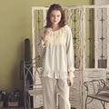 Moda outono Mulheres Pijamas Pijamas de Algodão Doce Princesa Rendas Ruffle Conjunto Sono de Manga Comprida Salão Real Feminino Pijama Macio