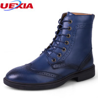 Unisex Big Size 35 48 High Top Quality Carved Bullock Men Boots Male Shoes Ankle Botas
