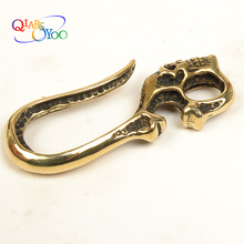 2018 Hot DIY S hook Solid Brass U-shaped skull key chain Belt Pure brass buckle dog clasp Decoration hooks 60mm