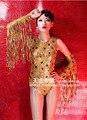 2015 traje feminino desgaste desempenho Ds traje cantora sexy moda sexy diamante ouro borla bodysuit para a cantora dançarina