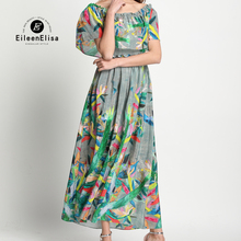 Women Sexy Slash Neck Dresses Slim 2017 Short Sleeve long Printed Dresses