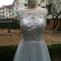 NIXUANYUAN 2017 Real Photo Silver Tulle Party Dress Short Hand Made Beaded Cocktail Dresses 2017 Crystal vestidos de cocktail
