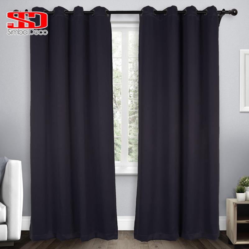 Solid Black Blackout Curtains For Living Room Imitation Silk Simple Fabric Modern Plain Drapery Window Treatments Single Panel