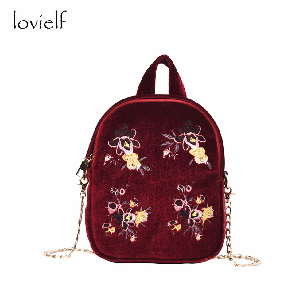 lovielf NEW Women Girl Cute Classy Design Lady  Small Mini Embroidery floral Velour Velvet Backpack Chain Shoulder Bags female 100 super cute little embroidery chinese embroidery handmade art design book