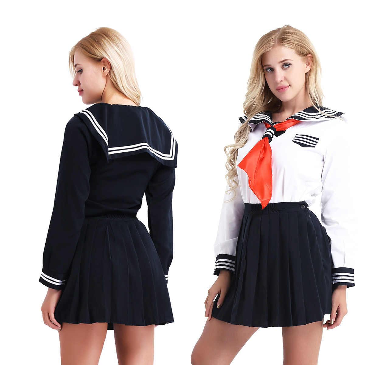Женский карнавальный костюм для девочек школьная форма в стиле моряка нарядный костюм рубашка с длинными рукавами и плиссированная юбка и треугольный шейный платок