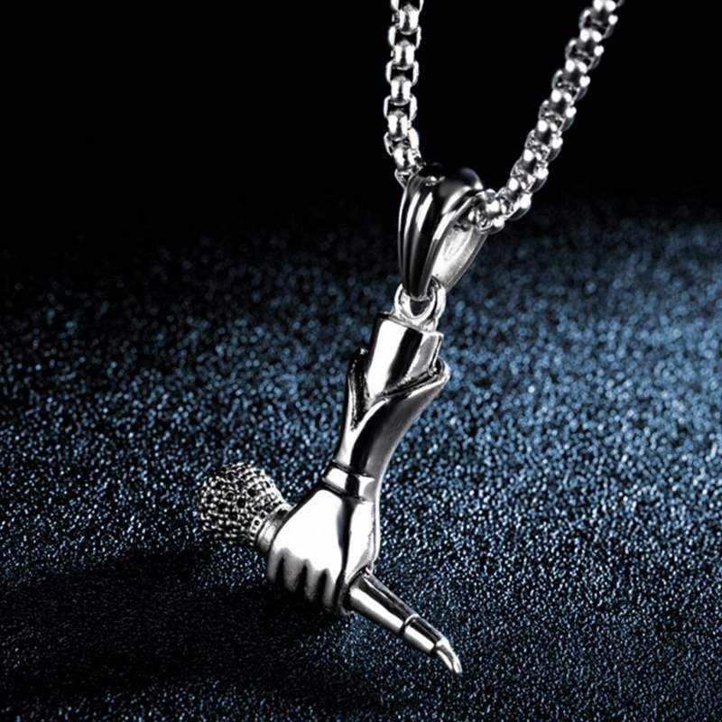 2019 Новое поступление хип-хоп Рок держит микрофон Ожерелья Подвески моде ожерелье мужчин ювелирные изделия подарки