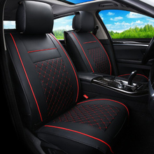 KKYSYELVA 2PCS Front Seat Covers Universal Leather Car Seat Cover for Toyota Skoda Auto driver seat cushion Interior Accessories