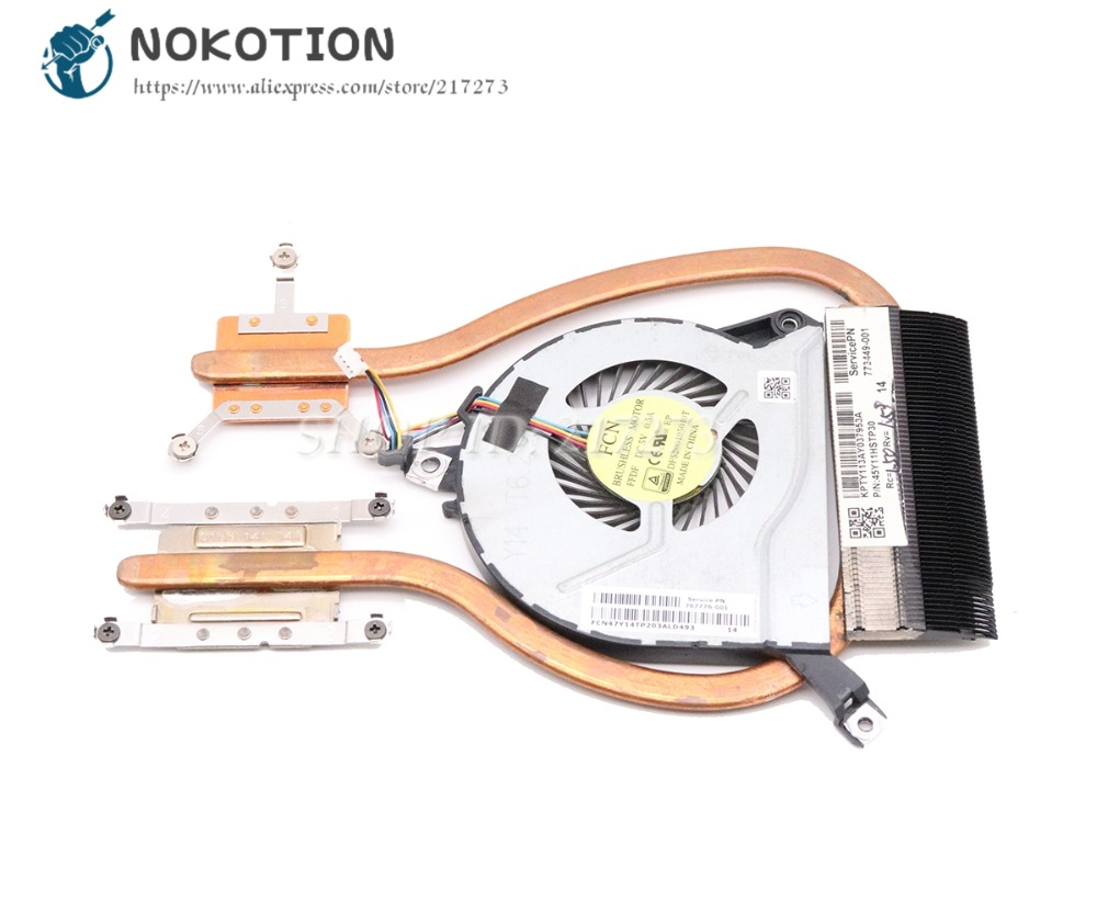 NOKOTION 767776-001 773449-001 Radiador Para HP Pavilion 14-P 15-P 17-P 14-V 15-V 15-K Refrigeração Do Dissipador de Calor com fã