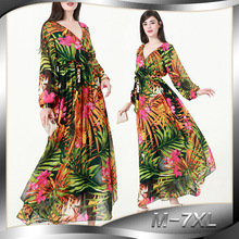 2018 Spring Autumn Women Chiffon Dress V Neck Long Latter Sleeve Plus Size 7XL Floral Dress Floor Length Long Maxi Beach Dress