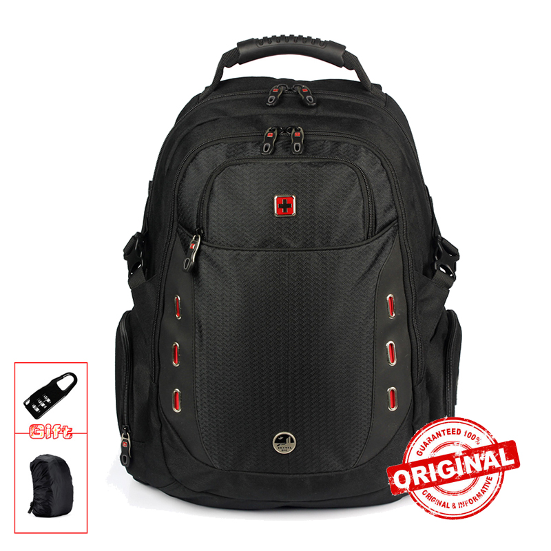 все цены на SUISSEWIN Waterproof men Laptop Backpack 17 inch Sac a dos mochila Men Fashion Backpack Quality Nylon School Bagpack Back Pack