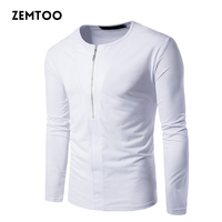 2017 New Autumn Half Zipper Placket Black White T Shirt Men Casual Tee Tops Cotton Long