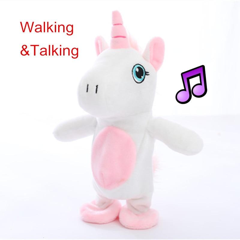 Miaoowa 1pc 18cm Kawaii Walking&Talking Unicorn Plush Toy Sound Record Plush Unicorn Stuffed Toys for Kids Birthday Gift Doll robot unicorn sound control interactive unicorn electronic toys plush pet unicorn toy walk talk toys for children birthday gifts