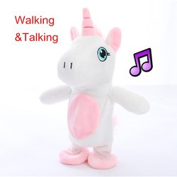 Miaoowa 1pc 18cm Kawaii Walking & Talking pluszowy jednorożec dźwięk rekord pluszowy jednorożec nadziewane zabawki dla dzieci urodziny lalka prezentowa