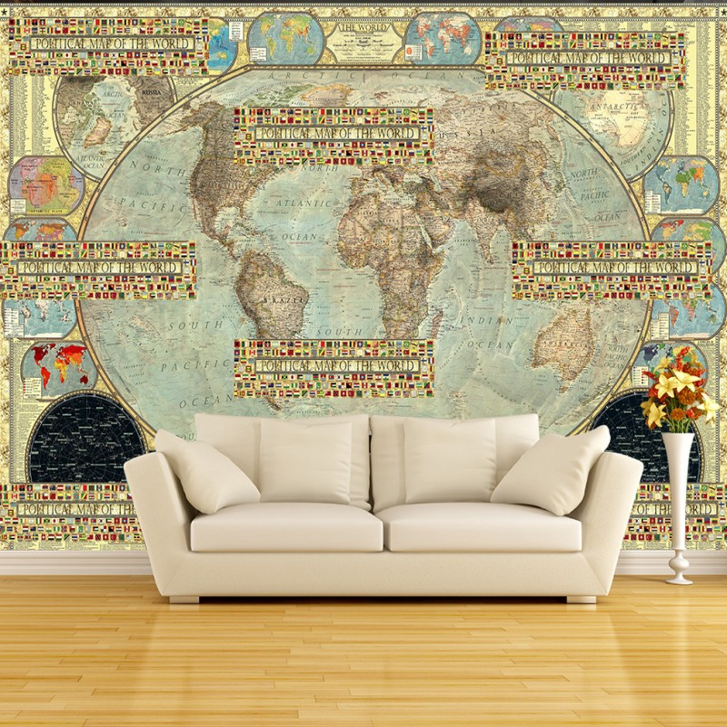 Custom size photo high definition retro world map murals flag custom size photo high definition retro world map murals flag parquet tooling background wall living room mural custom wallpaper in wallpapers from home gumiabroncs Choice Image