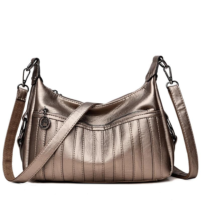 Leather PU Women's Handbags Stripe Women Shoulder Crossbody Bags Women Messenger Bag