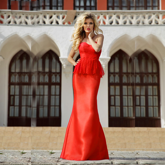 Ballkleider Red Elegant Evening Gowns Lace Mermaid Prom Dresses Long ...