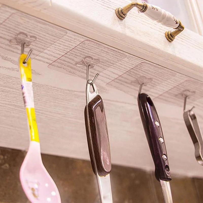 6pcs Lot 6cm 6cm Strong Sticky Durable Adhesive Hooks Kitchen Wall Hanger Ceiling Hooks Bathroom Hooks Aliexpress