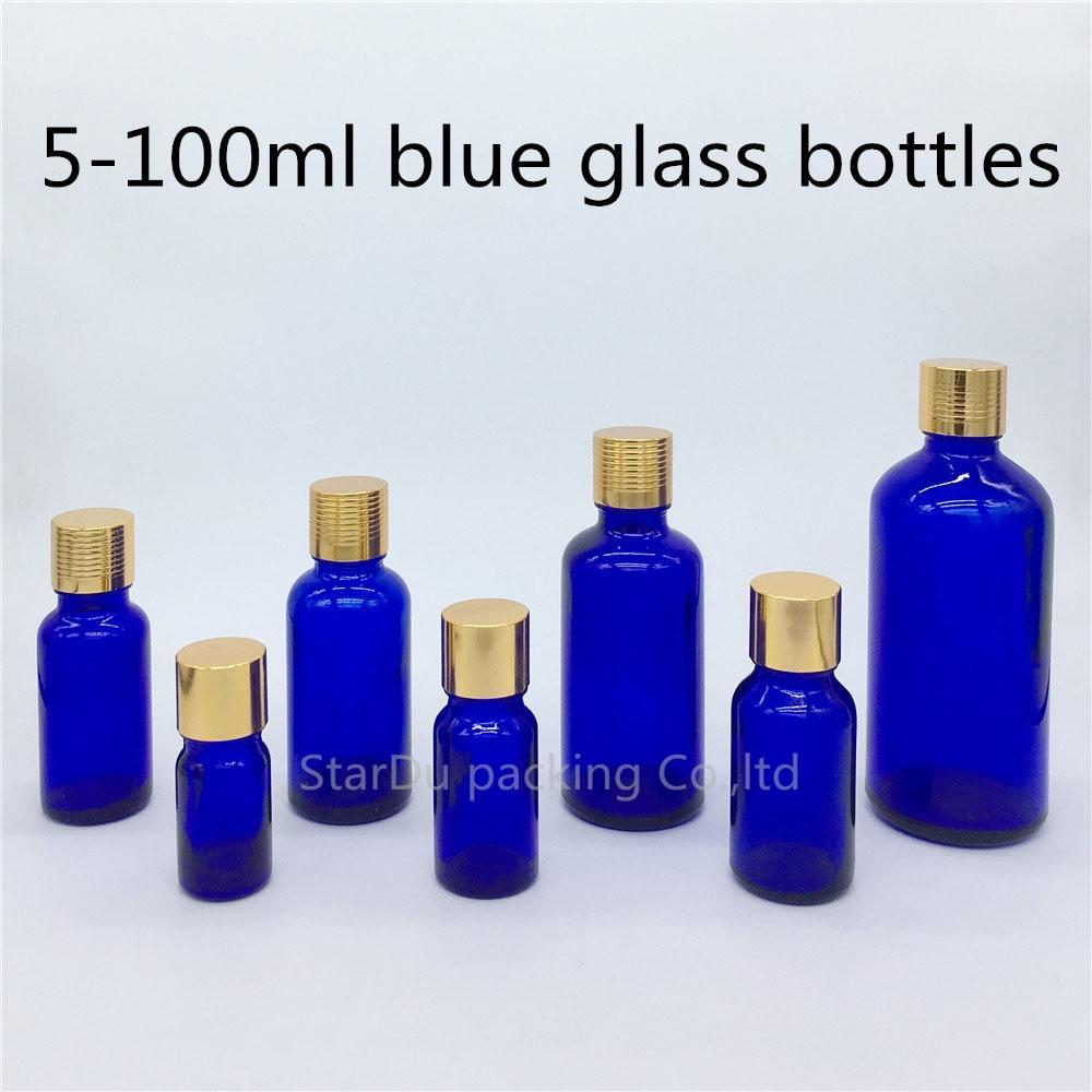 5ml 10ml 15ml 20ml 30ML 50ml 100ml blue Glass Bottle Vials, Essential Oil blue Bottle with gold screw cap Perfume bottles 480pcs