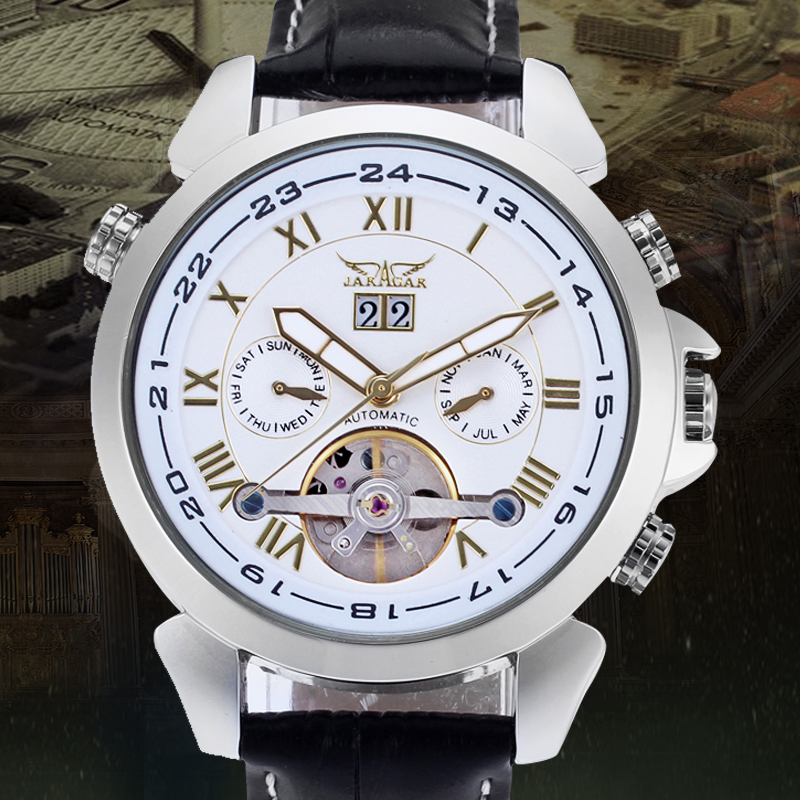 Jargar Tourbillon Automatic Silver Hot Sale Genuine Leather Strap Watch цена