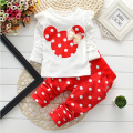 2016 Autumn style cartoon baby children girls clothing sets baby kids clothes set kid minnie long sleeve pink t shirts dot pants