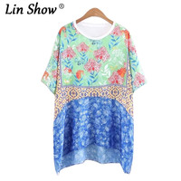 LINSHOW Vintage Loose Printed Floral Toyouth Summer Women T Shirt O Neck Spliced Ladies Tops Work