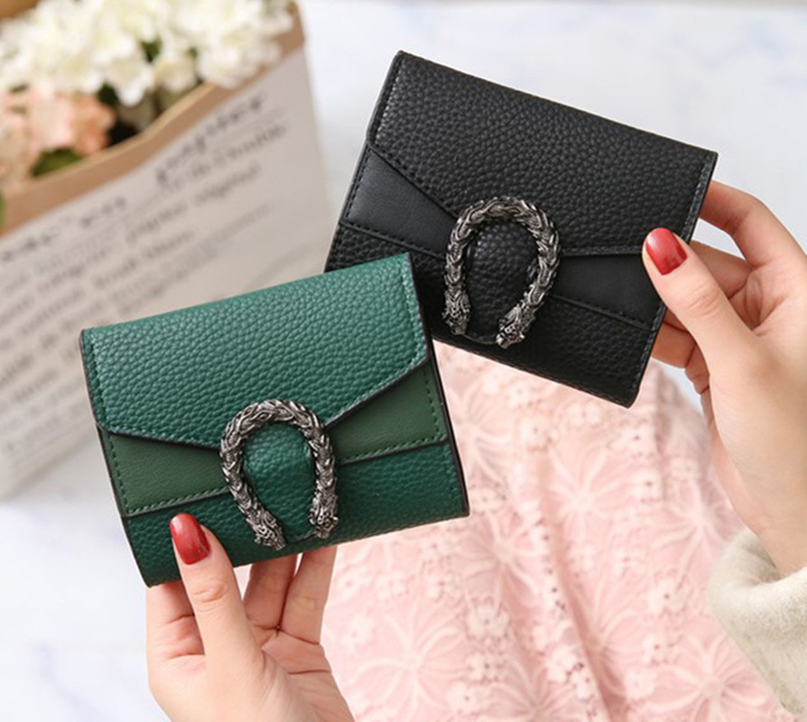 Women Wallets Purses Clutch-Bags Card-Holder Pocket Money-Coin Dragon-Head Ladies