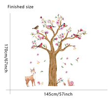 large size Snail birds deer tree wall stickers background mural decals art