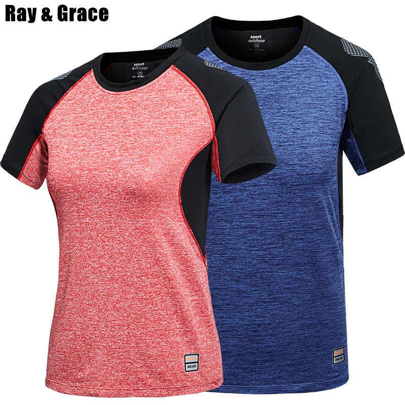 RAY GRACE быстросохнущая воздухопроницаемая футболка для мужчин и женщин Летняя охлаждающая Спортивная футболка футболки для улицы походная туристическая рубашка