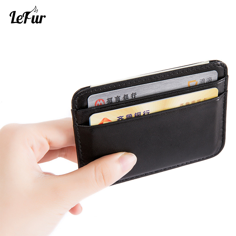 LEFUR Purse Wallet Card Business-Card-Holder Slim-Bank Texture Vintage Mini Fashion Case