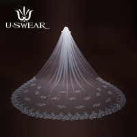U SWEAR 2018 High grade Women Wedding Veil Flora Lace Appliqued Lace Edge One Layer Bridal Veil For Wedding Dress Cathedral Veil