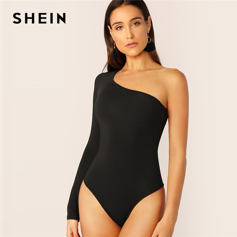 SHEIN One Shoulder Form Fitting Bodysuit Stretchy Sexy Solid Long Sleeve Basics Bodysuits Women 2019 Summer Skinny Bodysuits