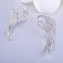 2019 trendy Angel Wing women Earrings Silver Color Copper Alloy Semi-precious Stone Earring Fashion Earrings for Woman Tik tok baja alloy wing green color