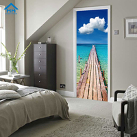 3D Sea View Removable Door Stickers For Dorm Room Decoration Cleanable Wall paper Self adhesive Art Mural Wall Stickers Poster