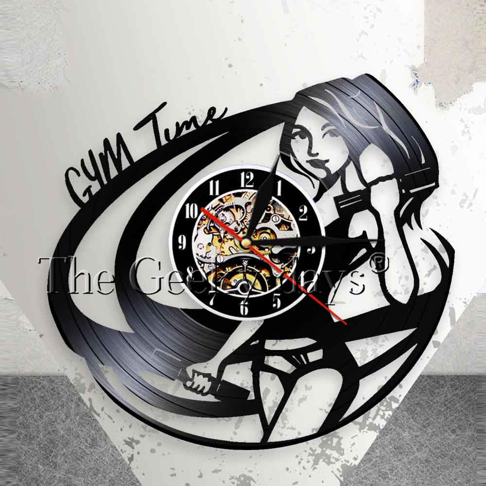 Fitness Room Wall Decor Clock Sports Girl Bodybuilding Wall Clock Motivation Quote GYM Time Vinyl Music Vinyl Record Wall Clock