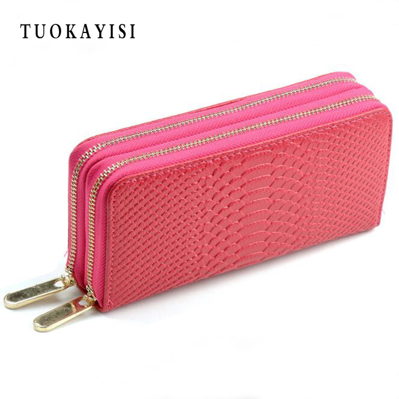 цены Super Gift women wallets genuine leather wallet two double zipper design Crocodile Grain Embossed Luxury Female Clutch purse new