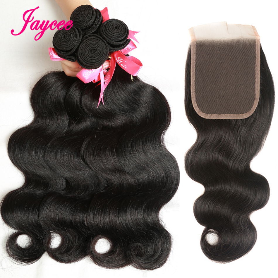 jaycee Hair Peruvian Body Wave With Closure Three/Middle/Free Part 4pcs 100% Human Hair Weave Remy Hair 3 Bundles With Closure