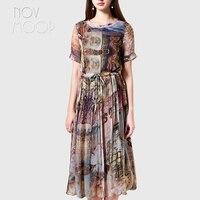 Летнее женское платье в стиле ретро с принтом кофейного цвета из натурального шелка с оборкой и круглым вырезом, с завязкой на талии, пляжны