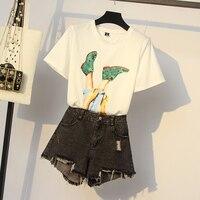 Women Sequin T Shirt+Denim Short Sets Feet PrintTops Casual Jean Short Summer Clothes Suit outfit Denim Top And Short Set