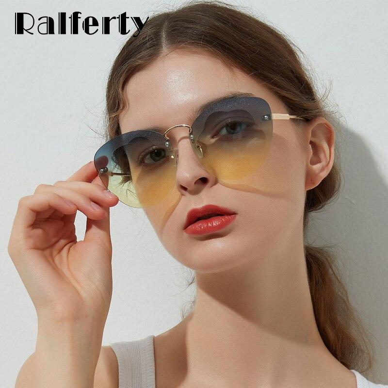 Ralferty UV400 Cat Eye Óculos de Sol Sem Aro dos óculos de Sol das Mulheres  Gradiente a1c61cfff9